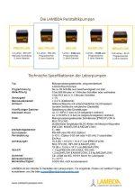 LAMBDA Schlauchpumpen Datenblatt und Broschüre PDF